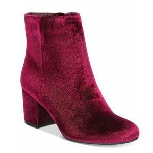 ZiGiny Nanon Velvet Block Heel Booties Burgundy